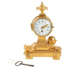 Pendulum In Gilt Bronze, 19th Century, Decor To Astronomy