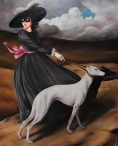 Circumstances of Birth - Masked Girl in a Old World Black Dress & Hat with Dogs