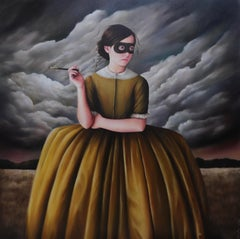 The Cool Girls - Oil Painting, Girl in Mask with Clouds, Old World Dress