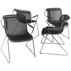 Penelope Chairs by Charles Pollock in Chrome and Meshed Black Metal, Set of Four