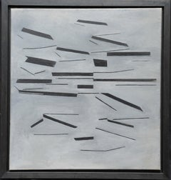 Black on Grey Conceptual Abstract - British 60's Conceptual art oil painting