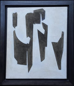 Conceptual Abstract IV - British Sixties abstract art oil painting female artist