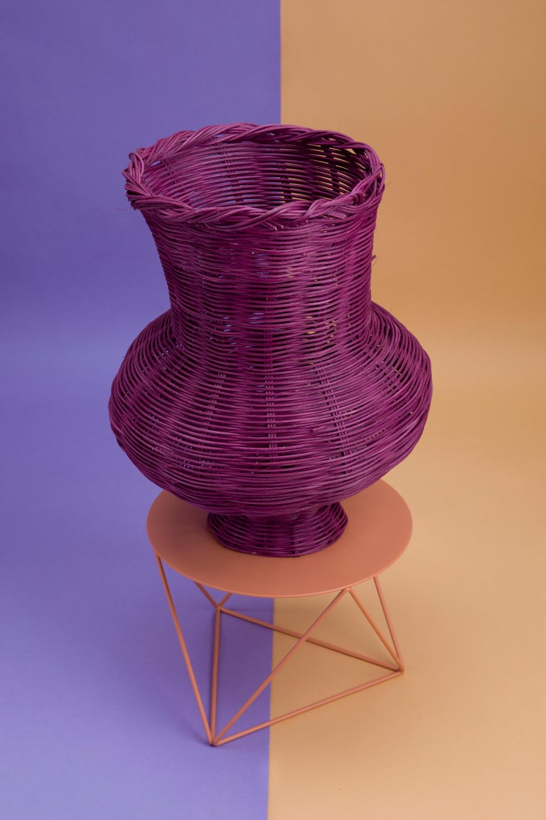 Modern Penelope Hand-Woven Vase in Plum Hand-dyed Reed