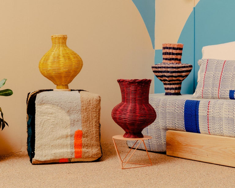 American Penelope Hand-Woven Vase in Plum Hand-dyed Reed