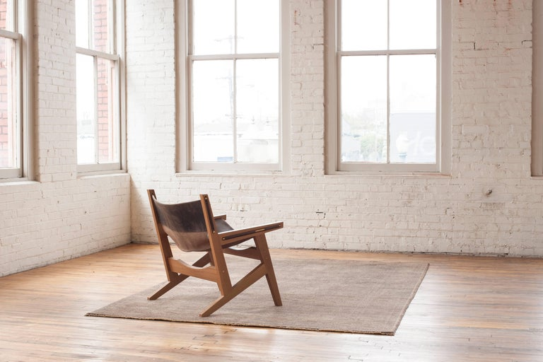 Peninsula Lounge Chair, Modern Walnut and Leather Sling Chair with Brass Details For Sale 4