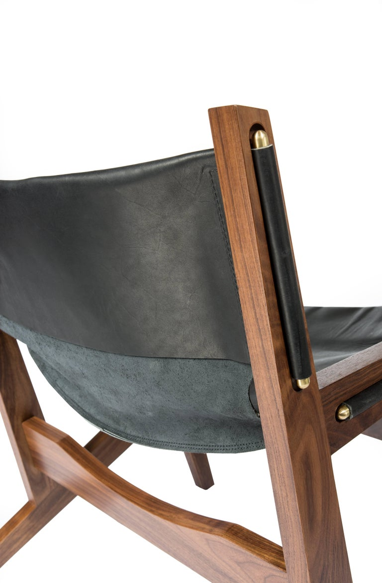Joinery Peninsula Lounge Chair, Modern Walnut and Leather Sling Chair with Brass Details For Sale