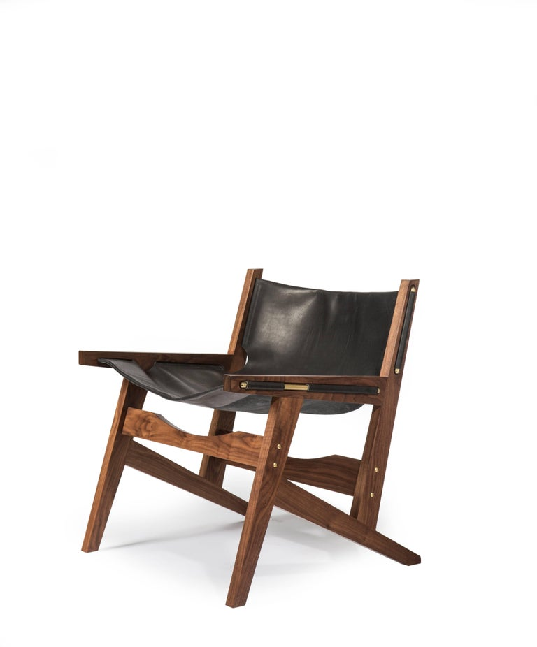 Peninsula Lounge Chair, Modern Walnut and Leather Sling Chair with Brass Details In New Condition For Sale In Stevenson, WA