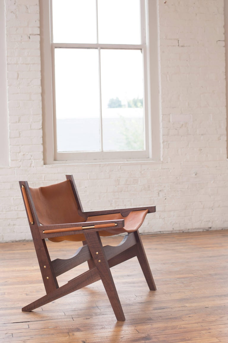 Contemporary Peninsula Lounge Chair, Modern Walnut and Leather Sling Chair with Brass Details For Sale