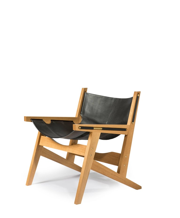 Peninsula Lounge Chair, Modern Walnut and Leather Sling Chair with Brass Details For Sale 1