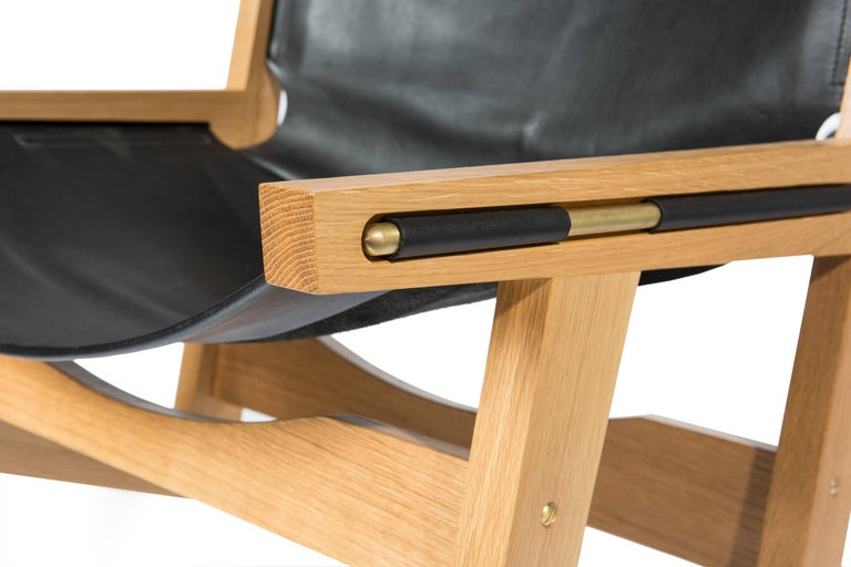 Peninsula Lounge Chair, Modern Walnut and Leather Sling Chair with Brass Details For Sale 2