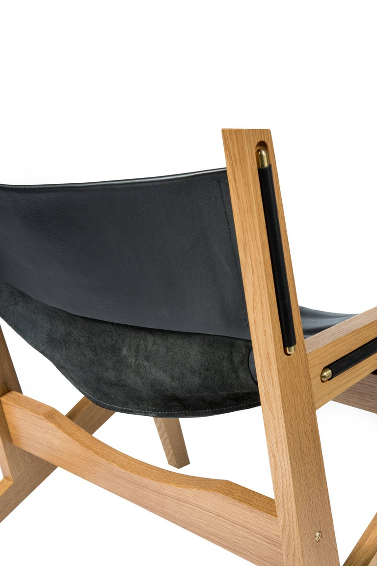 Peninsula Lounge Chair, Modern Walnut and Leather Sling Chair with Brass Details For Sale 3