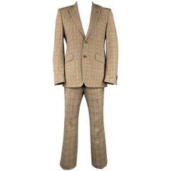 PENNESI 40 Regular Brown Glenplaid Wool Blend Peak Lapel Suit