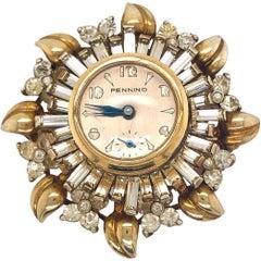 Pennino Sunburst Sterling Silver Vermeil Rhinestone Watch Brooch Pin Pendant