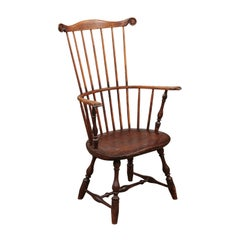Pennsylvania Comb-Back Windsor Armchair in Pine and Fruitwood, 19th Century