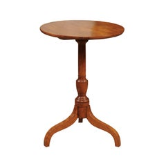 Pennsylvania Federal Style Applewood Candle Stand, 19th Century