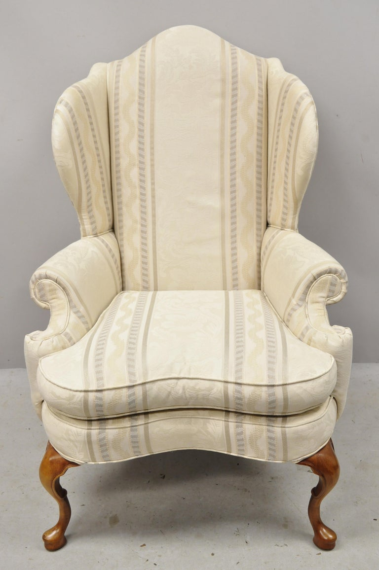 Pennsylvania House Queen Anne Rolled Arm Wingback Lounge Armchair For Sale 6
