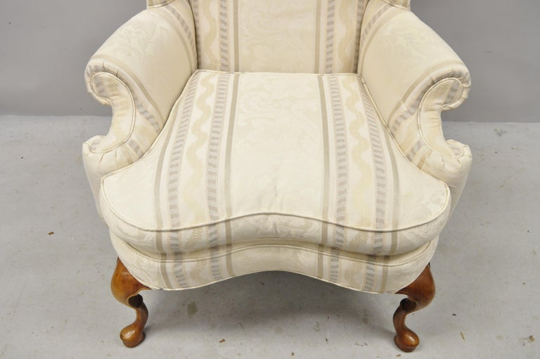 Pennsylvania House Queen Anne Rolled Arm Wingback Lounge Armchair For Sale 2