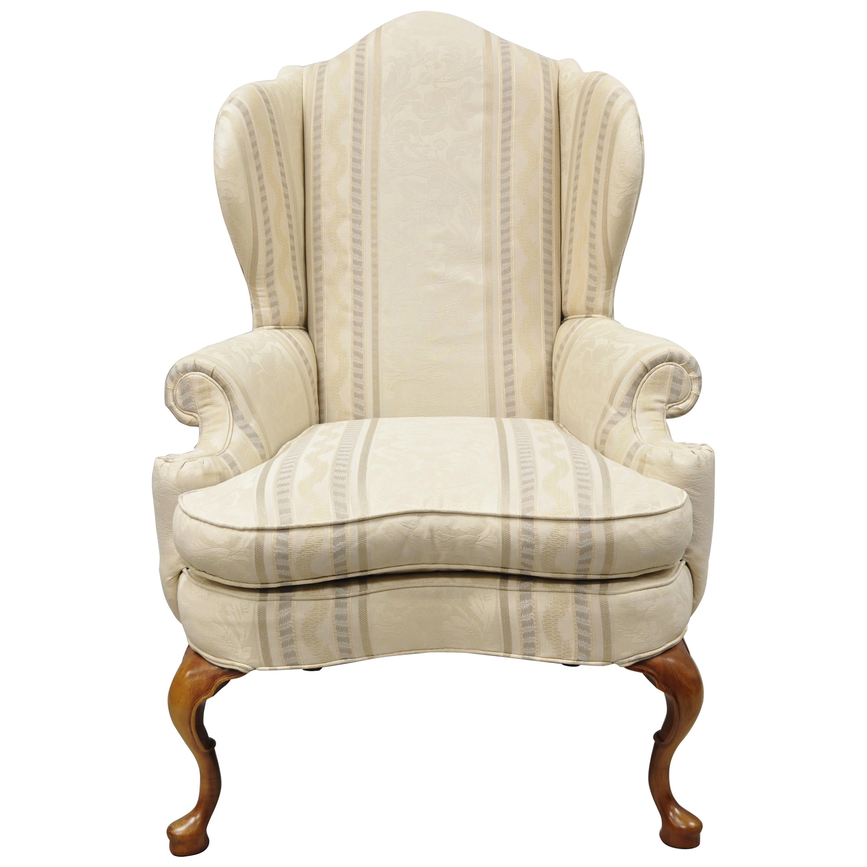 Pennsylvania House Queen Anne Rolled Arm Wingback Lounge Armchair
