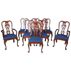 Pennsylvania House Queen Anne Solid Cherry Dining Room Chairs Blue Set of 8