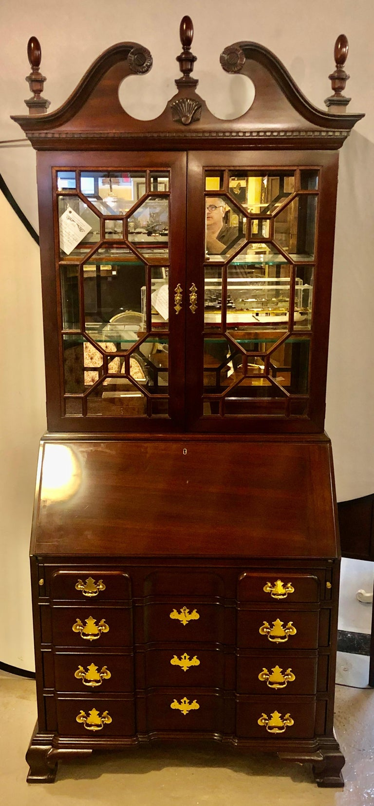 Chinese Chippendale Pennsylvania House Secretary Desk / Bookcase in the Chippendale Style For Sale