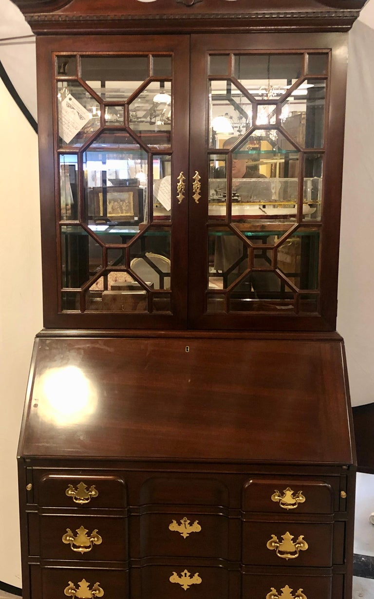 Pennsylvania House Secretary Desk / Bookcase in the Chippendale Style In Good Condition For Sale In Stamford, CT