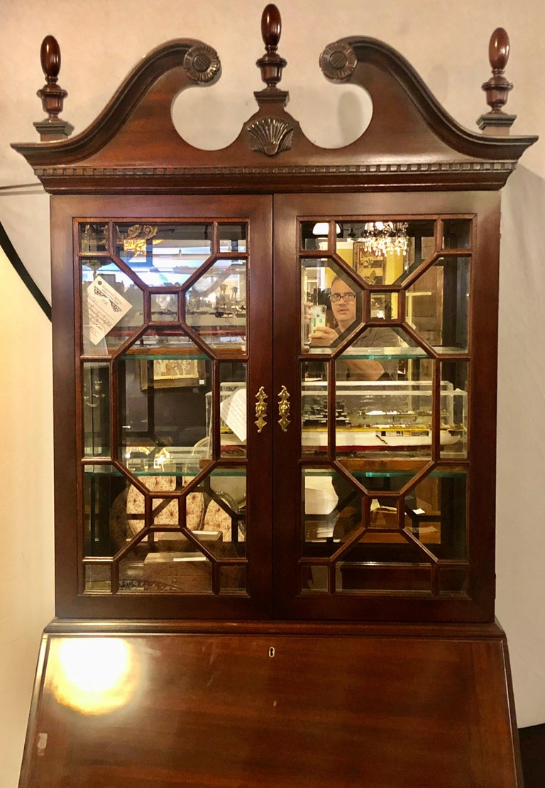 20th Century Pennsylvania House Secretary Desk / Bookcase in the Chippendale Style For Sale
