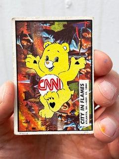"""Care Bear Warfare - City in Flames"" CNN (FRAMED) in black"