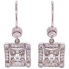 Penny Preville Diamond White Gold Designer Drop Earrings Fine Estate Jewelry
