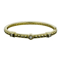 Penny Preville Yellow Gold 0.21 Carat Round Diamond Bangle Bracelet