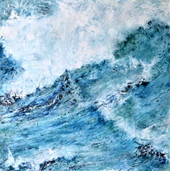 """""""A Rush Of White Water"""" : A contemporary seascape oil on canvas."""