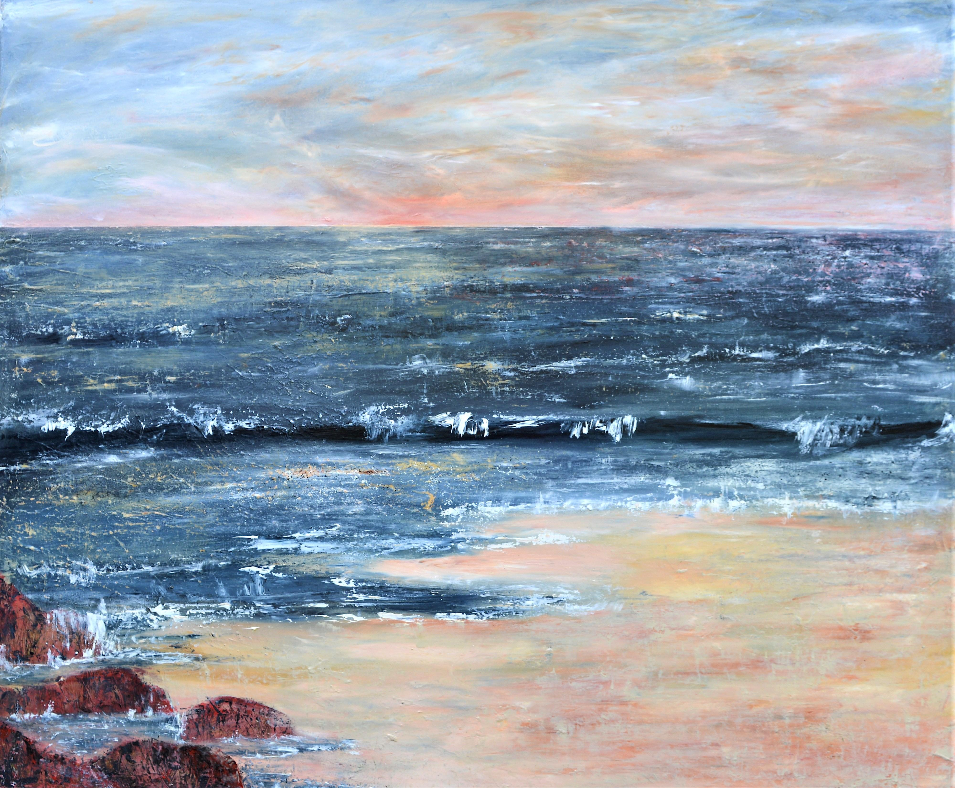 """""""All Good Days Come To An End """": A contemporary seascape oil on canvas."""
