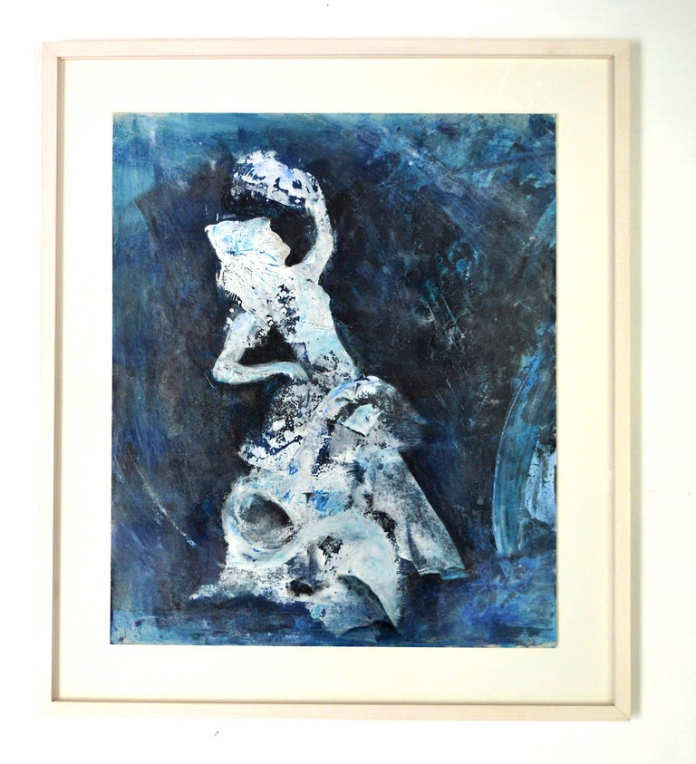 Flamenco. Contemporary Figurative Oil Painting - Blue Figurative Painting by Penny Rumble
