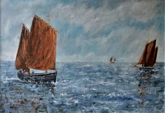"""Regatta"" : A contemporary seascape oil on canvas."
