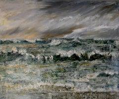 """Tempest"" : A contemporary seascape oil on canvas, contemporary"