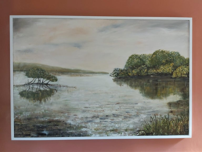 Where The Otters Play - Gray Landscape Painting by Penny Rumble