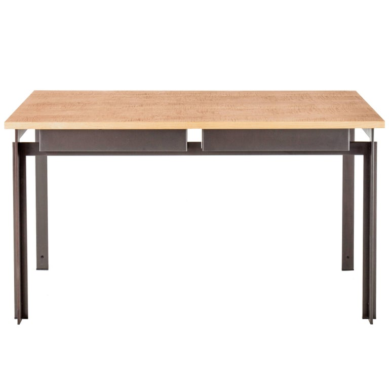 Penrose Desk in American Hardwood and Steel