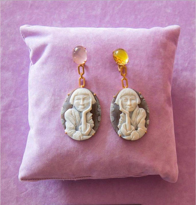 Hand-Carved Pensive Cameo Earrings in 18K Pink Gold w/ Pink & Lemon Quartz by Cindy Sherman For Sale