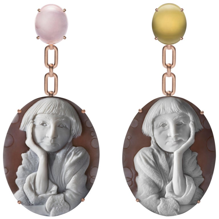 Pensive Cameo Earrings in 18K Pink Gold w/ Pink & Lemon Quartz by Cindy Sherman For Sale