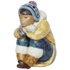 'Pensive Inuit Boy' Pottery Figurine by Lladro