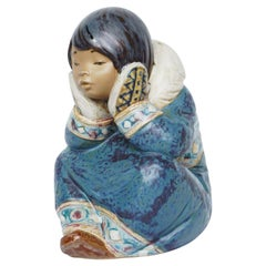 """""""Pensive Inuit Girl' Pottery Figuring by Lladró"""