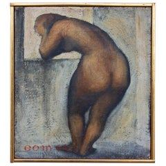 Pensive Nude Modernist Painting by Earnest O. Mondorf