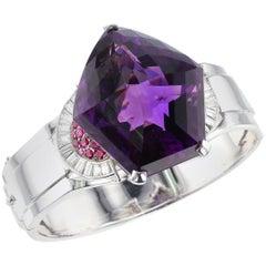 Pentagonal Amethyst with Rubies and Diamonds, Cuff Bracelet, Palladium