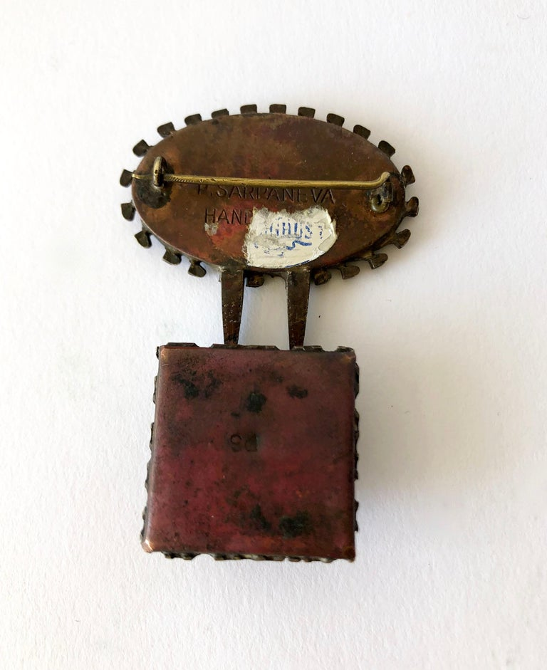 Rare Pentti Sarpaneva Enameled Bronze Finland Surrealist Eye Brooch In Good Condition For Sale In Los Angeles, CA