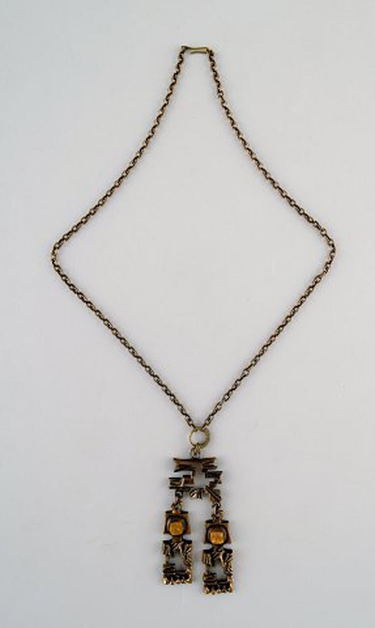 Women's Pentti Sarpaneva, Finland, Bronze Necklace with Yellow Stones For Sale