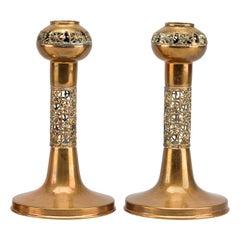 Pentti Sarpaneva Gilt Bronze Pair of Candleholders, Mid-Century Modern, Sweden