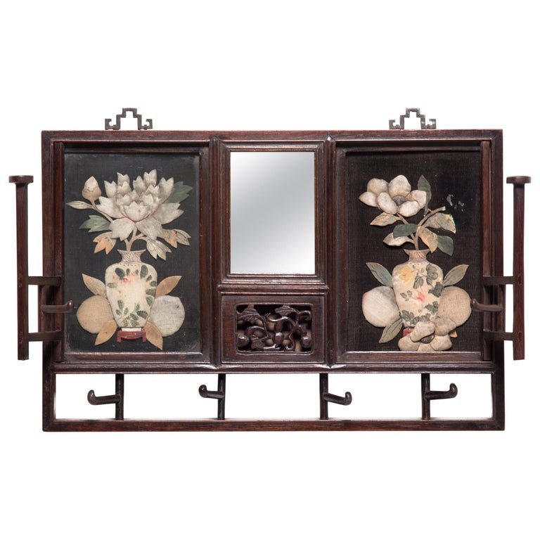 """Peony and Plum Blossoms"" Qing Dynasty Hat Rack For Sale"