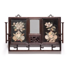 """""""Peony and Plum Blossoms"""" Qing Dynasty Hat Rack"""