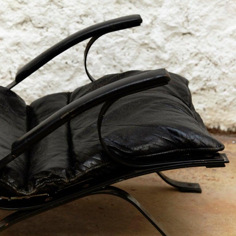 Pep Bonet Tuman Black Leatherette Lounge Chair for Levesta, circa 1969 For Sale 3