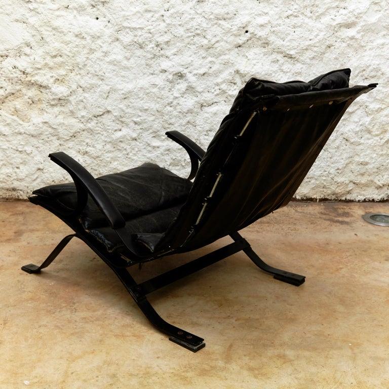 Mid-Century Modern Pep Bonet Tuman Black Leatherette Lounge Chair for Levesta, circa 1969 For Sale