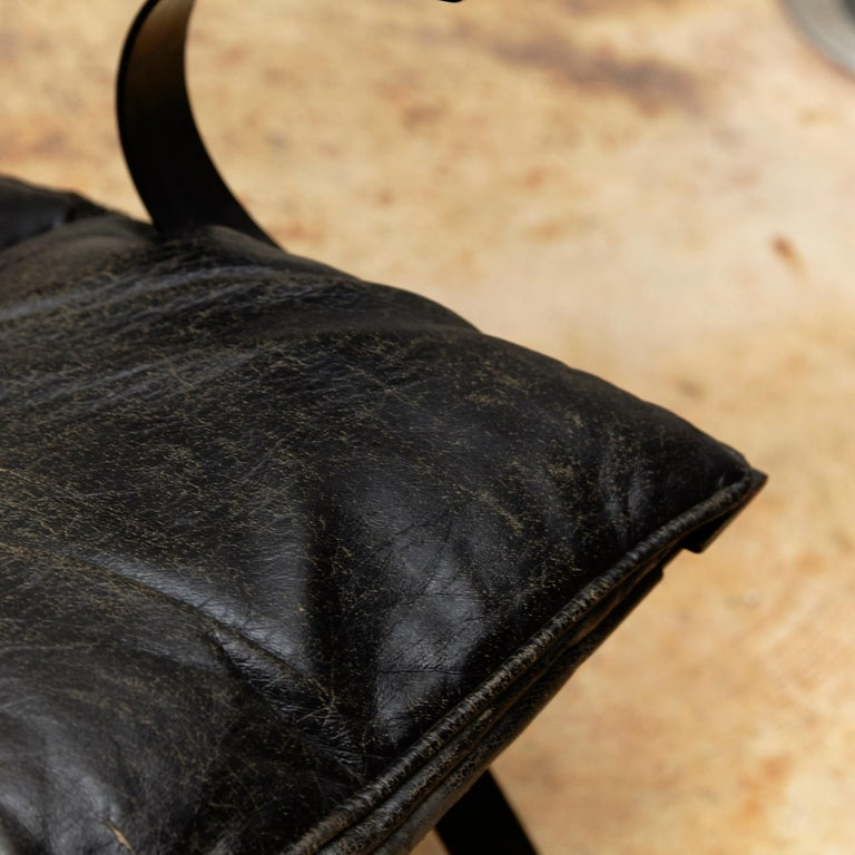 Metal Pep Bonet Tuman Black Leatherette Lounge Chair for Levesta, circa 1969 For Sale
